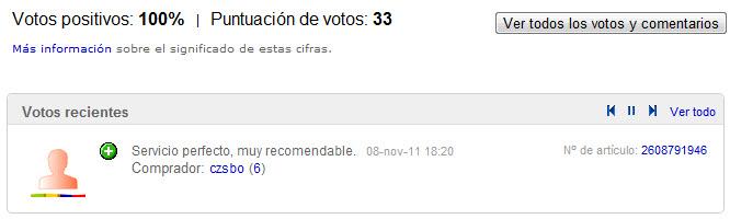 votos de anunciante en ebay