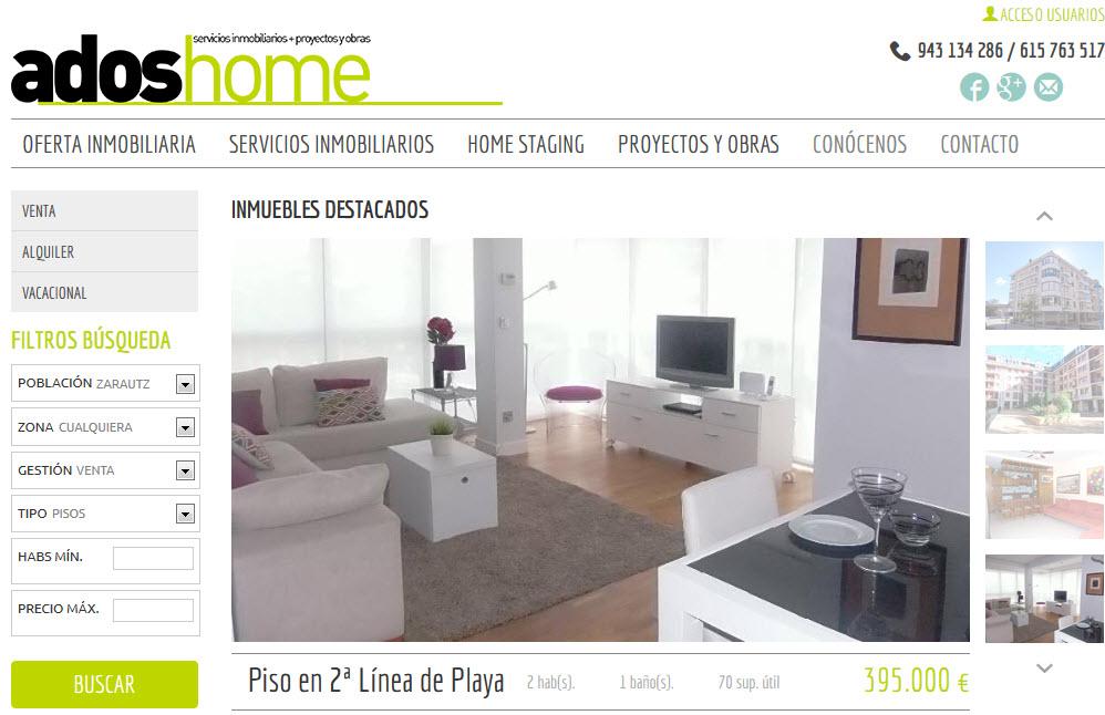 pagina principal adoshome servicios inmobi