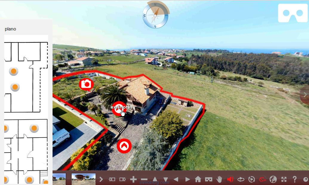 vista visita virtual para webs inmobiliarias