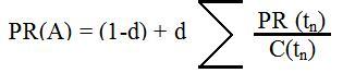 Fórmula del PageRank Google