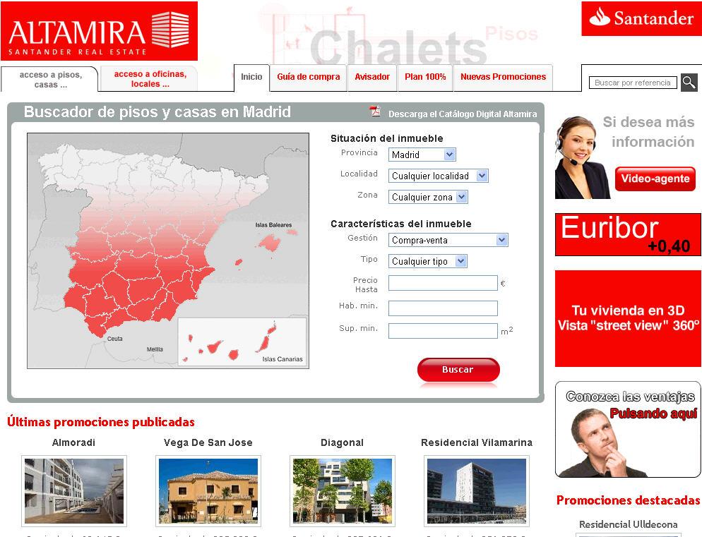Como anuncian sus pisos las filiales inmobiliarias de las for Pisos banco santander