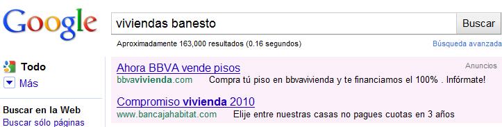 anuncio google adwords viviendas banesto