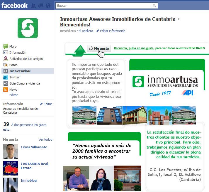 pagina de empresa de inmoartusa en facebook