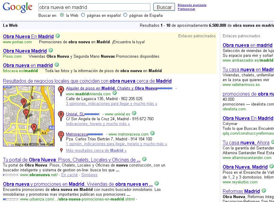 google obra nueva en madrid