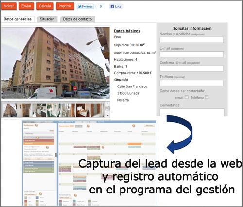 lead consultas web y registro automatico en programa de gestión