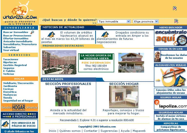 Evoluci n de un portal inmobiliario 2000 2009 marketing for Portal inmobiliario
